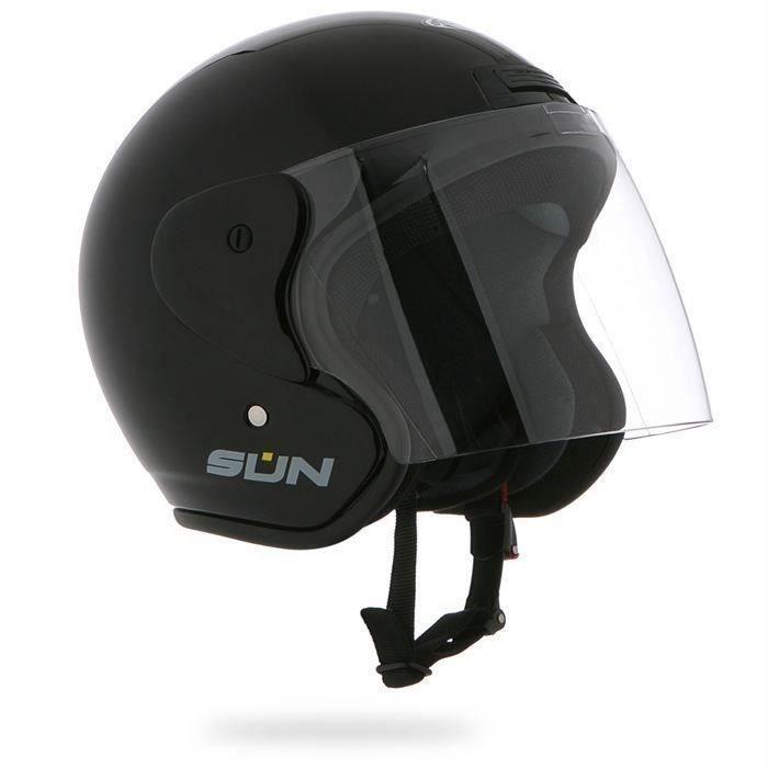 STORMER Casque moto Jet Sun 2 - Noir verni