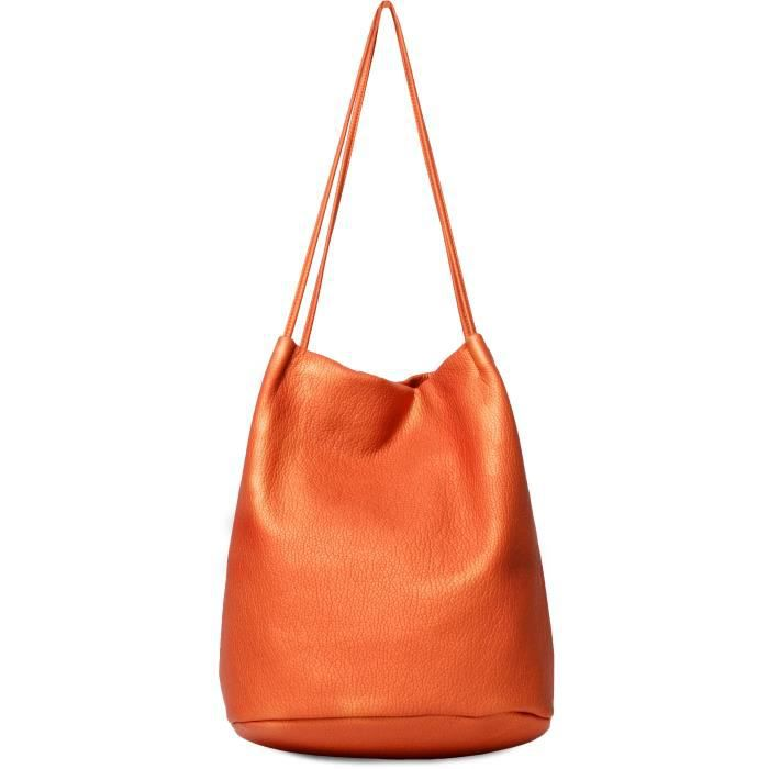 KINSTON Sac à Main Double Anses Orange Femme