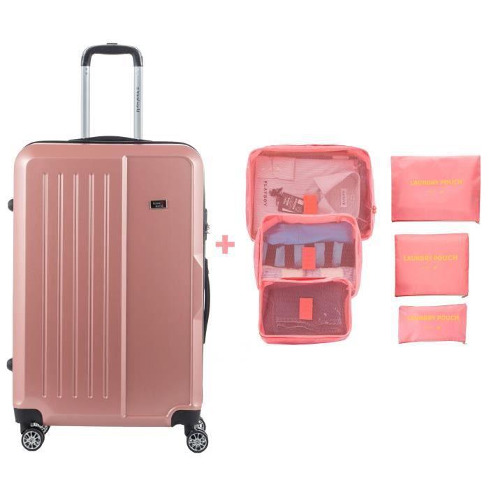 TRAVEL WORLD Valise grande taille 75cm + 6 organisateurs de voyage - Couleur Or rose