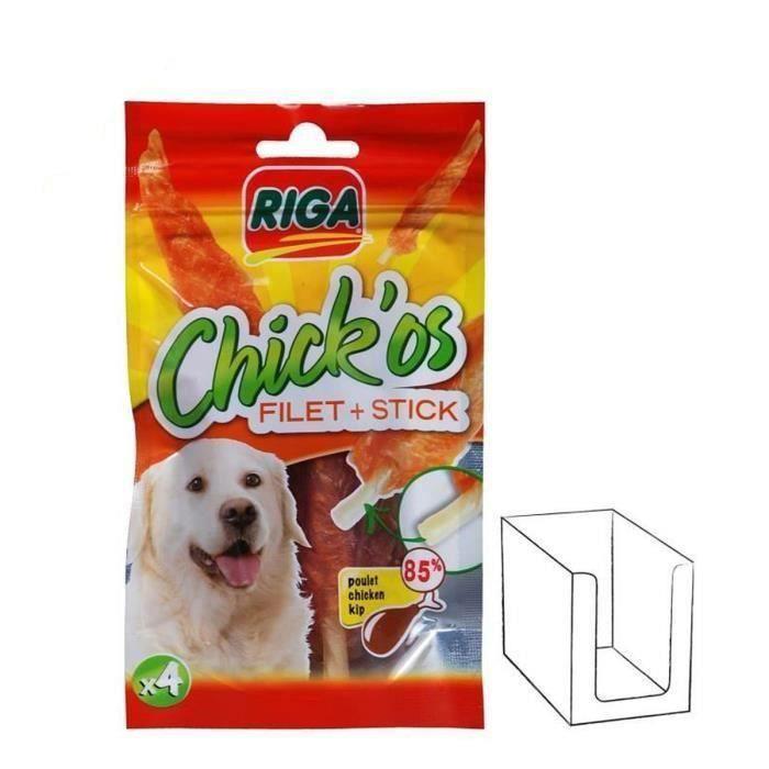 RIGA 2 sachets Chick'os Filets de poulet + stick pour chien 8 x75g