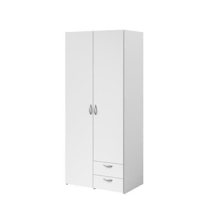 VARIA Armoire de chambre 2 portes décor blanc  L81 cm