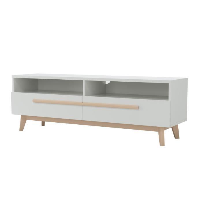 NAISS Meuble TV avec 2 tiroirs et 2 niches - Décor naturel et blanc - L 150 x H 50 x l 40 cm