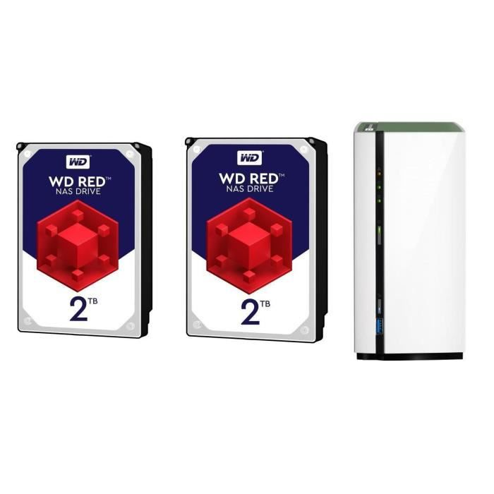 QNAP NAS 2 Baie TS-228A WD + 2 Disques dur 2To Red™ 64Mo