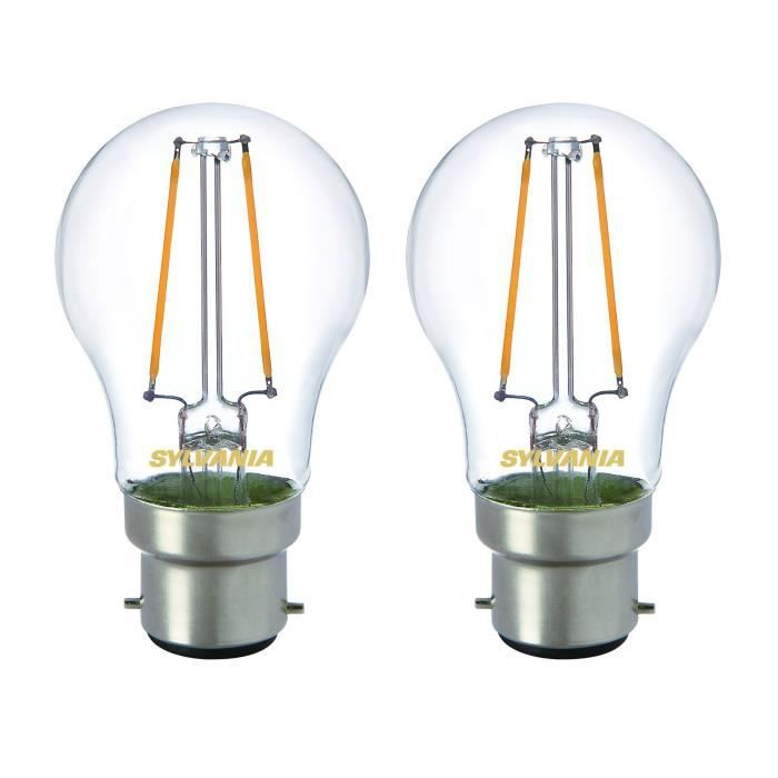 SYLVANIA Lot de 2 ampoules LED RETRO Filament A60 B22 40W