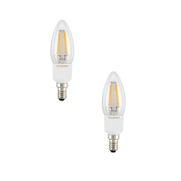 SYLVANIA Lot de 2 ampoules LED à filament Toledo RT Candle E14 4 W équivalent à 40 W