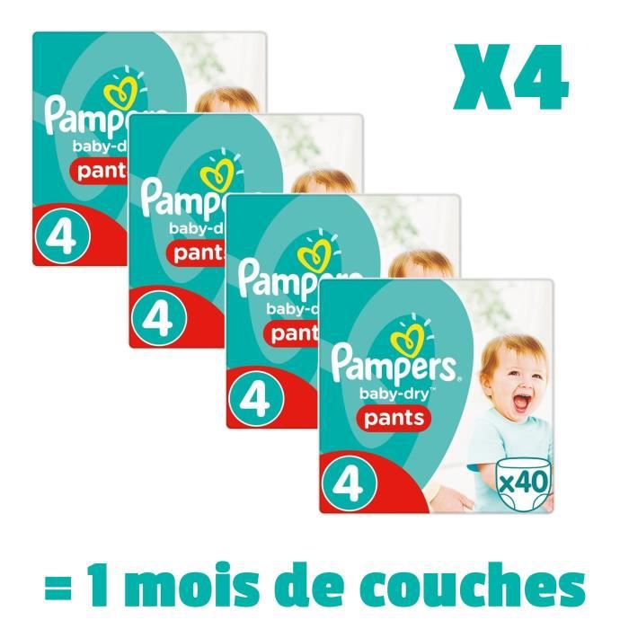 PAMPERS BabyDry Pants Taille 4 - 8 à 15kg - 160 couches - Format pack 1 mois
