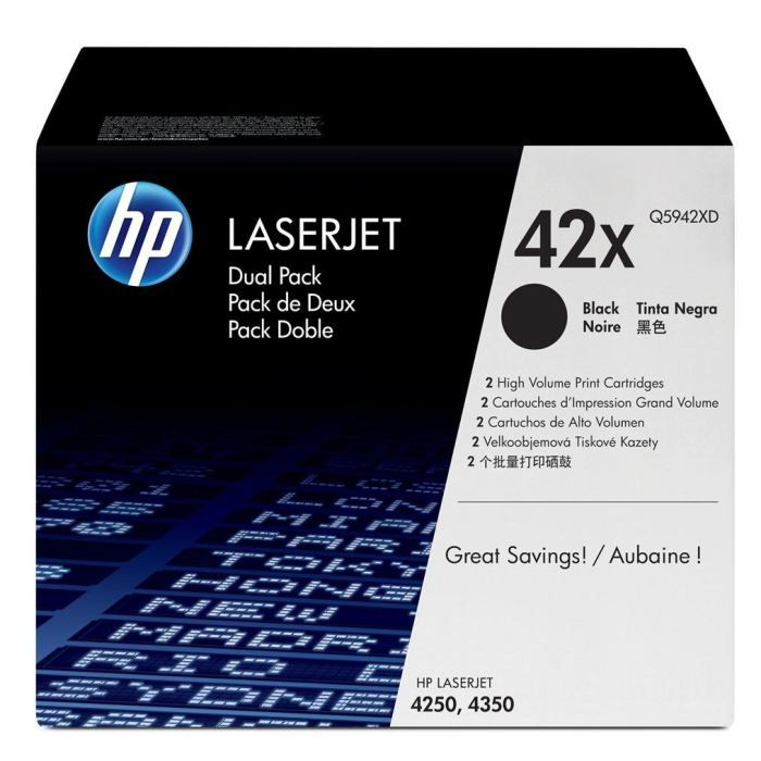 HP Pack de 2 Cartouches de Toner 42XD LaserJet Original - Noir - 2 x 20 000 pages