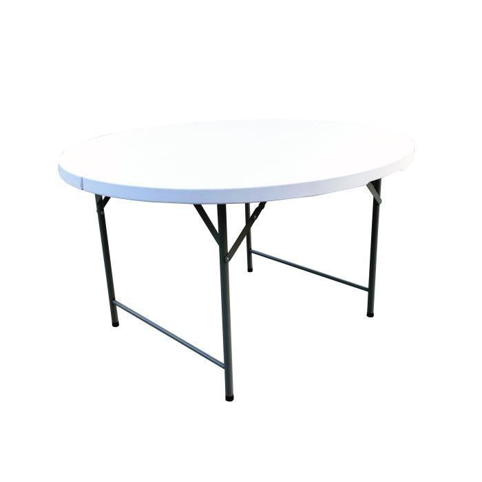 Table ronde de jardin pliable pour réception - Structure acier et plateau en Polyéthylène PEHD - Ø122 x H.74 cm - Blanc