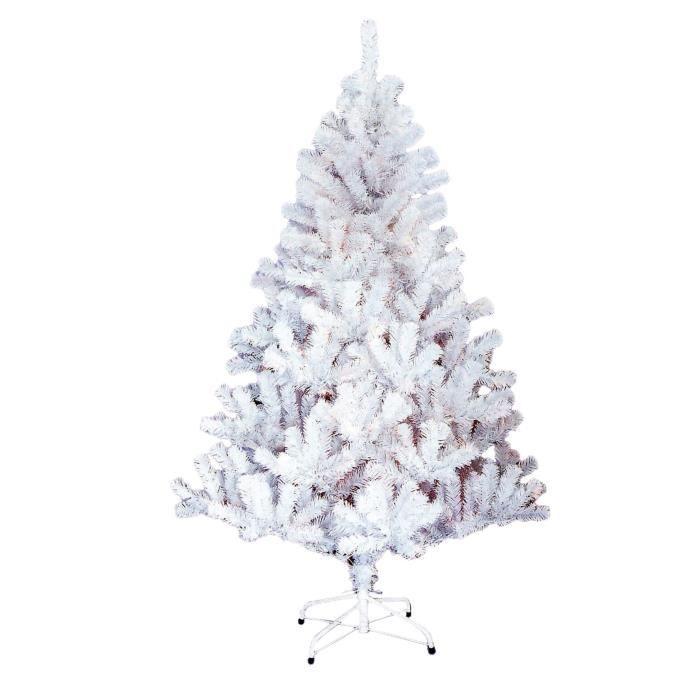 Sapin de No/ël en plastique avec pied Blanc 180 cm