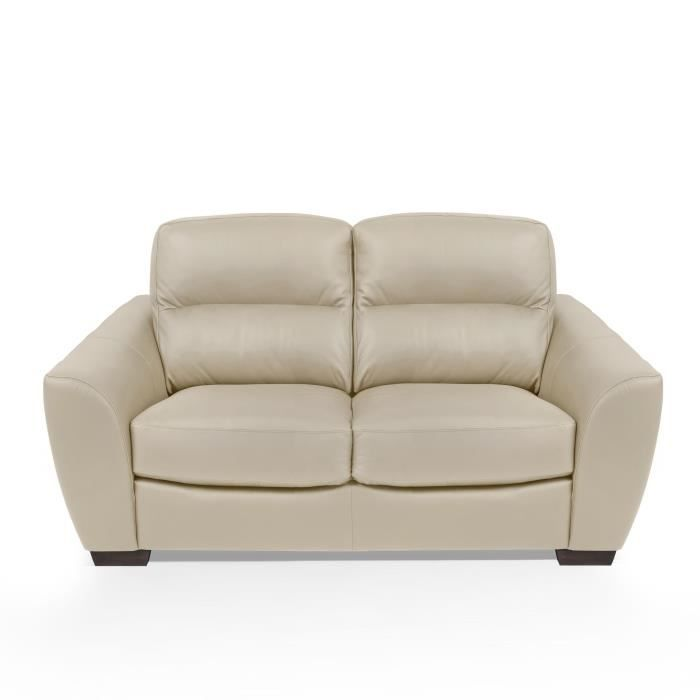 CANAPÉ - SOFA - DIVAN BARONE Canapé Cuir 2 places - Beige - Made in Ital