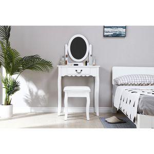 COIFFEUSE Coiffeuse avec Miroir + Tabouret - Décor Blanc et