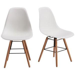 CHAISE RENA Lot de 2 chaises salle à manger - Blanc + Pie