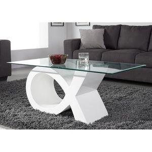 TABLE BASSE SHARON Table basse en verre contemporain laqué bla