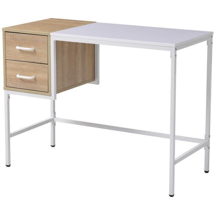 BUREAU  HARVARD Bureau 2 tiroirs en métal blanc - L 100 x