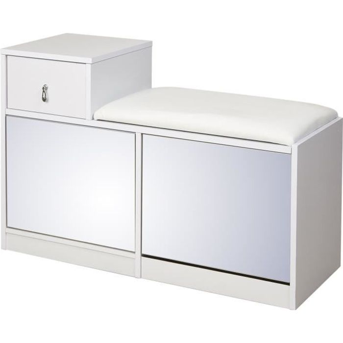 boutys meuble chaussures contemporain m lamin blanc l 90 cm achat vente meuble d 39 entr e. Black Bedroom Furniture Sets. Home Design Ideas