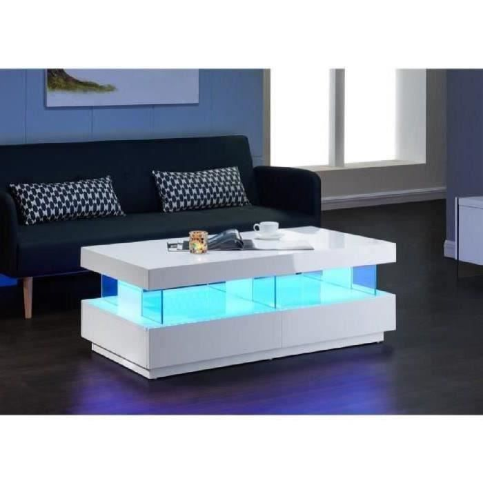 Light Table Basse Led Contemporain Laque Blanc Brillant 120cm