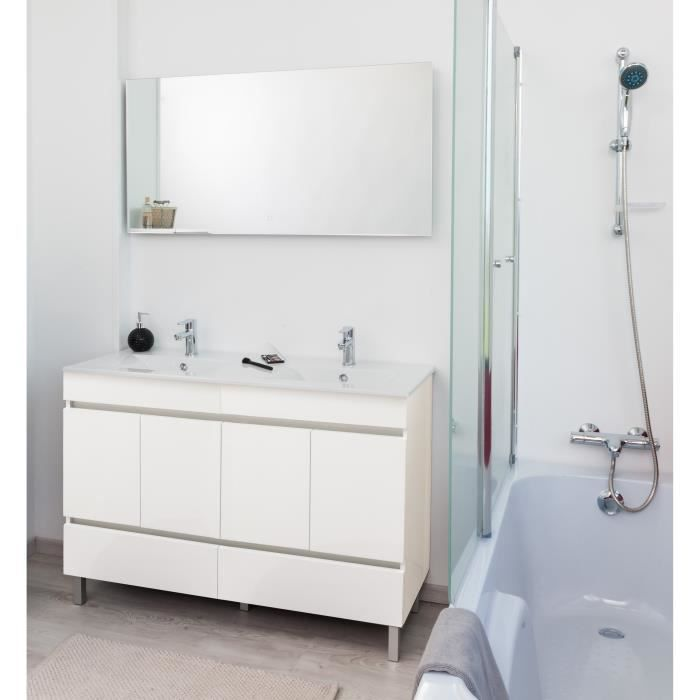 Lancelo Salle De Bain Complete Double Vasque L 120 Cm Blanc Mat