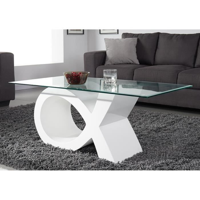 SHARON Table basse en verre contemporain laqué blanc brillant ...