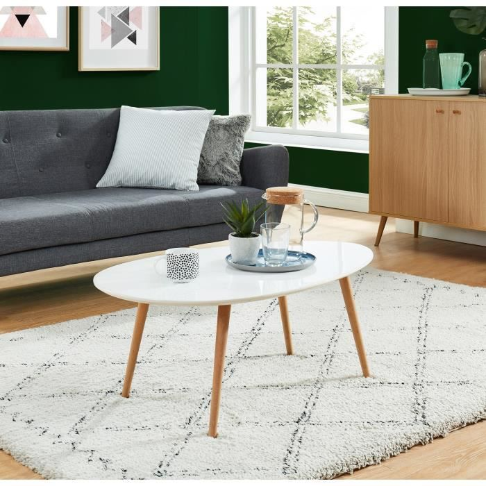 stone table basse scandinave laqu e blanc avec pieds en bois massif l 98 x l 61 cm achat. Black Bedroom Furniture Sets. Home Design Ideas
