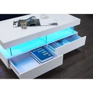 Genial ... TABLE BASSE LIGHT Table Basse Led Contemporain Laqué Blanc Bri ...