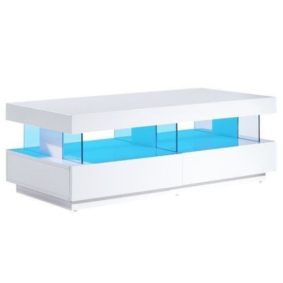 LIGHT Table basse led contemporain laqué blanc brillant 120cm ...