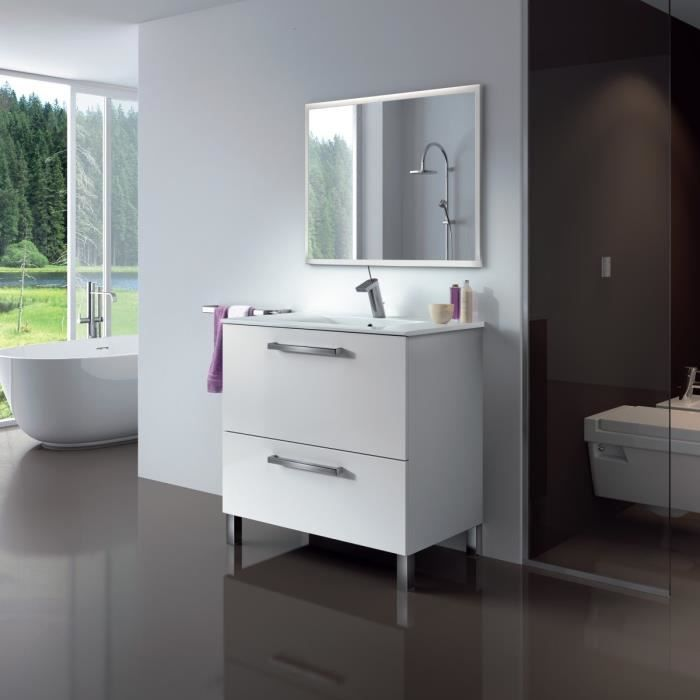 urban ensemble salle de bain simple vasque l 80 cm avec miroir blanc brillant achat vente. Black Bedroom Furniture Sets. Home Design Ideas