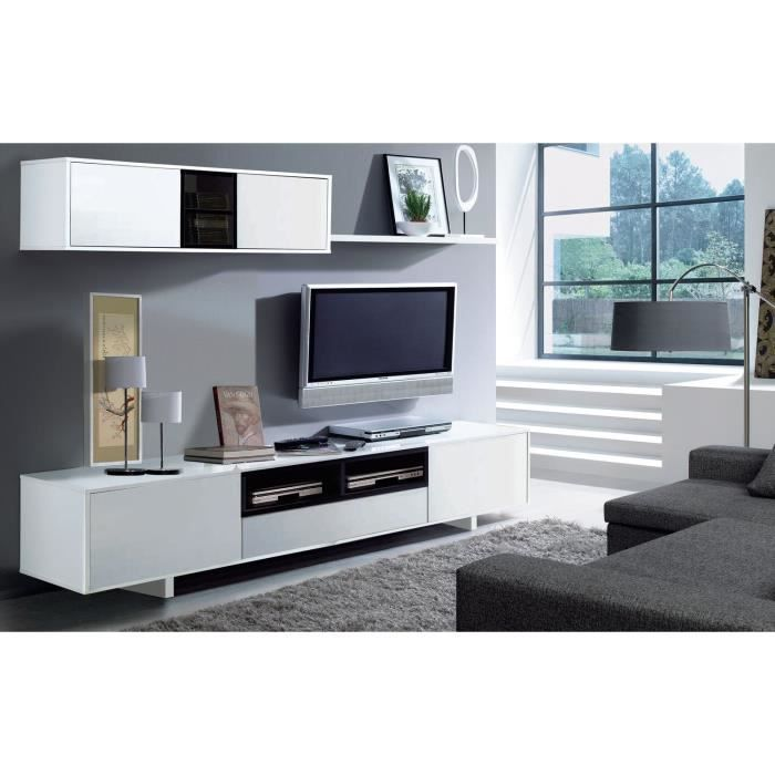 Belus meuble tv mural contemporain noir et blanc brillant for Meuble tele long