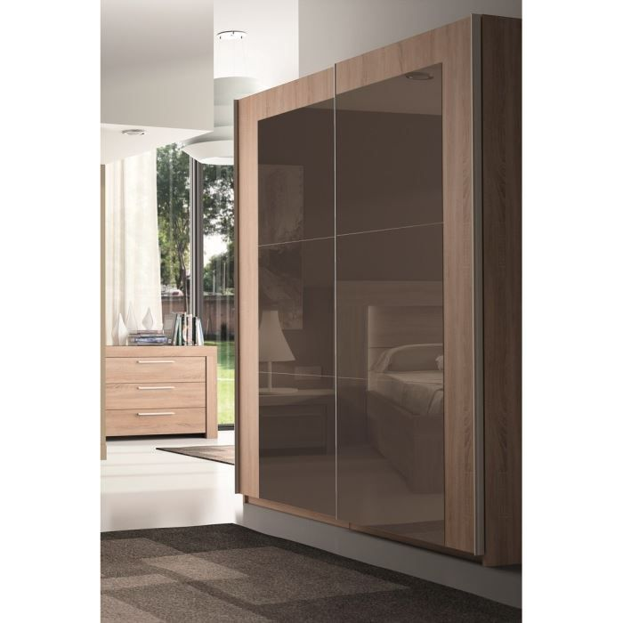odessa armoire 180cm 2 portes miroir bronze achat. Black Bedroom Furniture Sets. Home Design Ideas