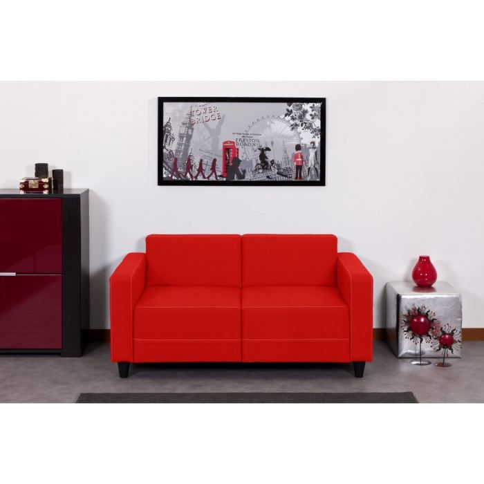 finlandek canap firr droit 2 places rouge achat vente canap sofa divan 70 coton 30. Black Bedroom Furniture Sets. Home Design Ideas