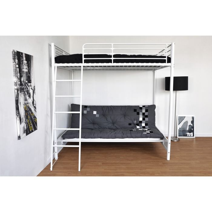 hugo mezzanine 140x190 banquette 135x190 achat vente lit mezzanine cdiscount. Black Bedroom Furniture Sets. Home Design Ideas