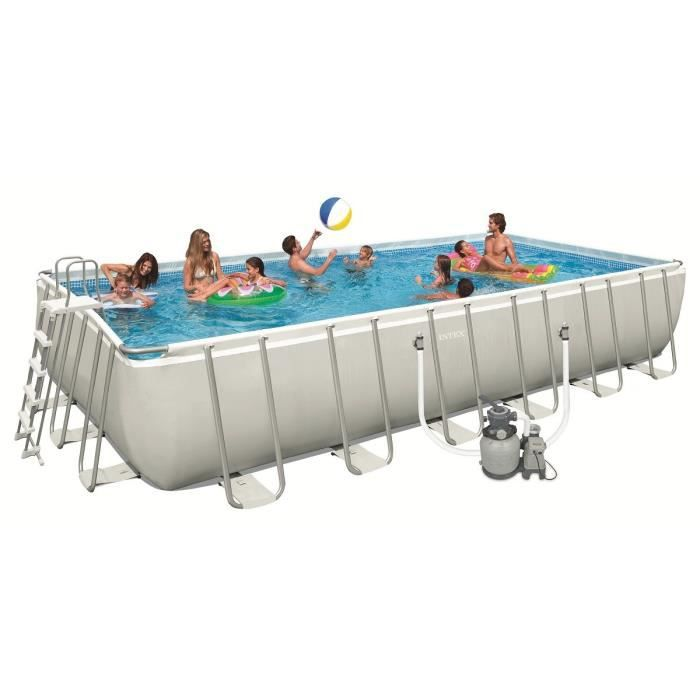 Intex ultra frame pool set piscine rectangulaire tubulaire - Piscine autoportee 3 66 ...