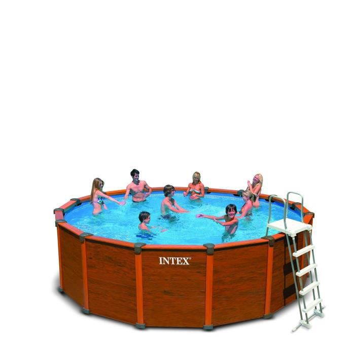 Intex sequoia spirit piscine ronde aspect bois 4 78 x 1 24 for Piscine ronde intex
