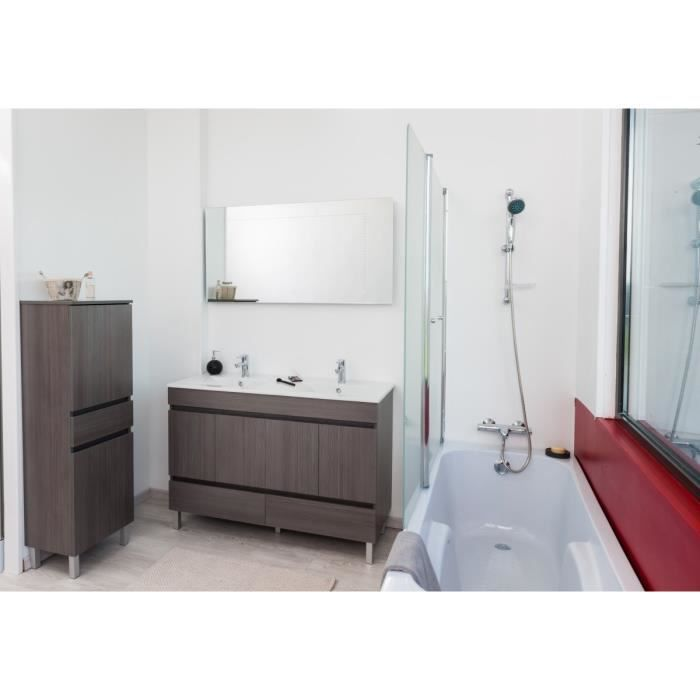 lancelo salle de bain compl te double vasque 120 cm gris achat vente armoire de toilette. Black Bedroom Furniture Sets. Home Design Ideas