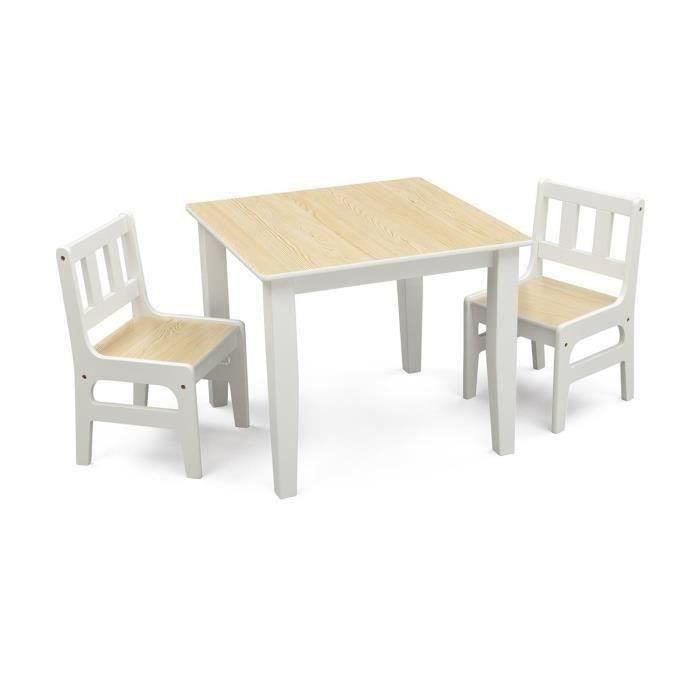 table enfant et 2 chaises en bois achat vente table et chaise cdiscount. Black Bedroom Furniture Sets. Home Design Ideas