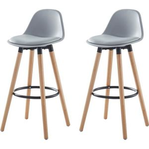 TABOURET DE BAR BRIT Lot de 2 tabourets de bar - Simili gris - Pie