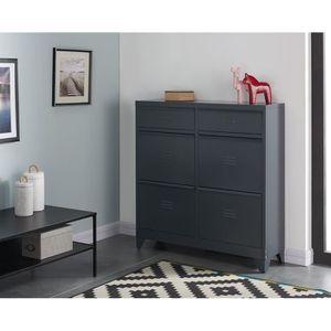 MEUBLE À CHAUSSURES LIVERPOOL Meuble à chaussure métal gris - L 101 x