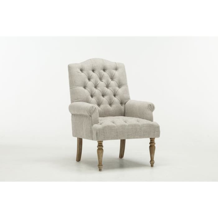 FAUTEUIL CHEVERNY Fauteuil chesterfield - Lin gris - L 75 x