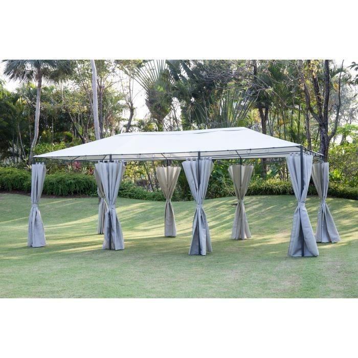 Tonnelle de jardin - En acier polyester - 6 x 3 m - Gris