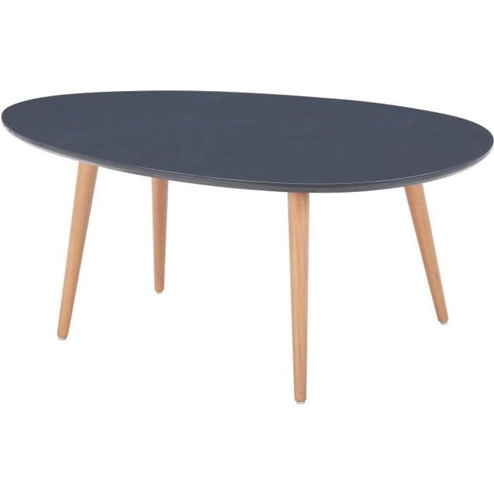 stone table basse scandinave laqu e gris avec pieds en bois massif l 98 x l 61 cm achat. Black Bedroom Furniture Sets. Home Design Ideas