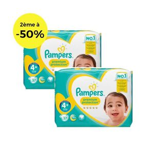 COUCHE PAMPERS Premium Protection Géant T4+ X37 Lot de 2