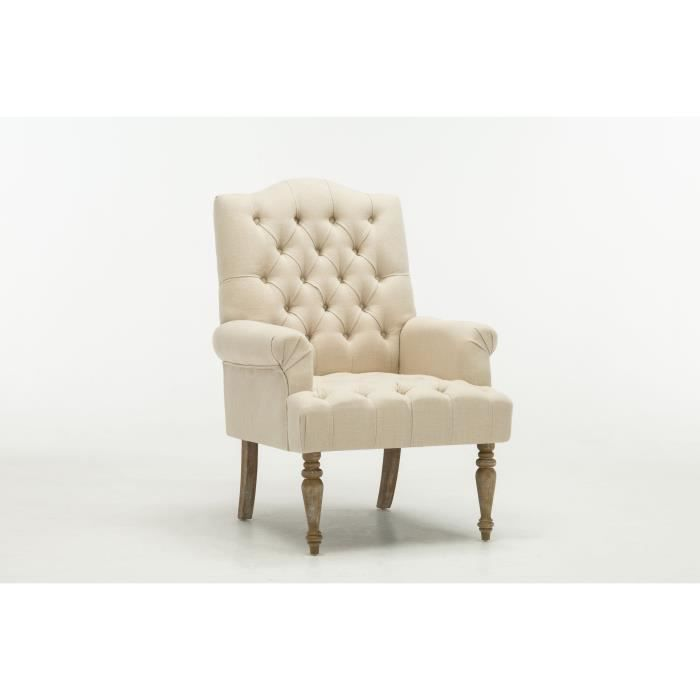 FAUTEUIL CHEVERNY Fauteuil chesterfield - Lin naturel - L 7