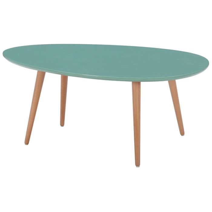 stone table basse scandinave laqu e vert menthe avec pieds en bois massif l 98 x l 61 cm. Black Bedroom Furniture Sets. Home Design Ideas