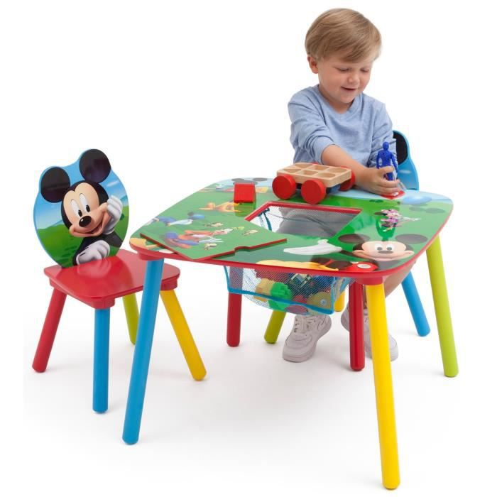 mickey table enfant avec rangement et 2 chaises achat. Black Bedroom Furniture Sets. Home Design Ideas