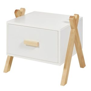 Table de Chevet Table de Nuit Style Scandinave Blanc et Bois Naturel