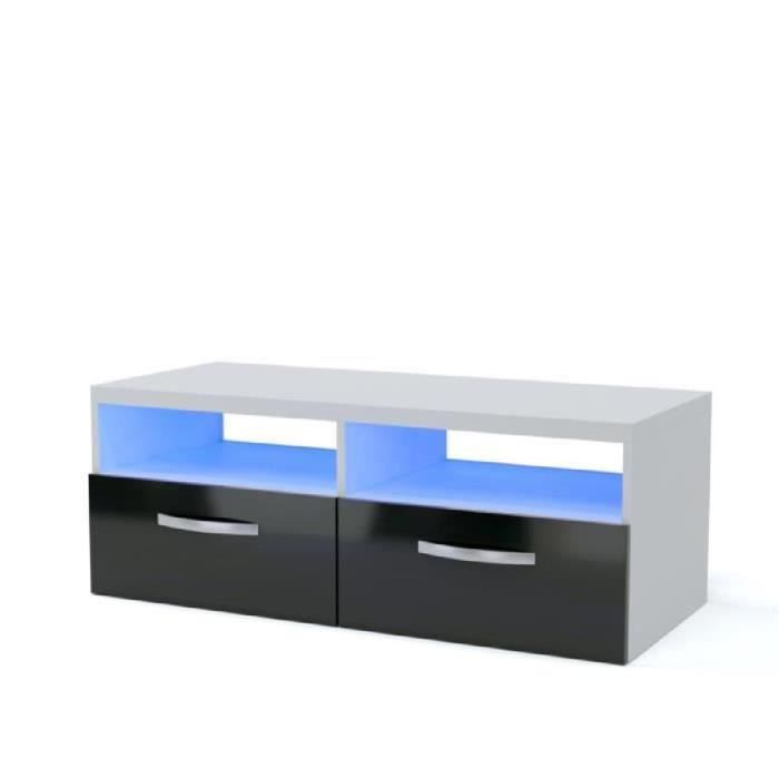 kosmo meuble tv avec clairage led 97 cm blanc haute brillance achat vente meuble tv kosmo. Black Bedroom Furniture Sets. Home Design Ideas