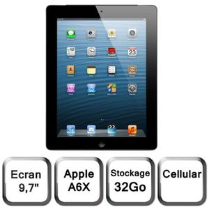 TABLETTE TACTILE iPad avec écran Retina Wi-Fi + Cellular 32 Go noir