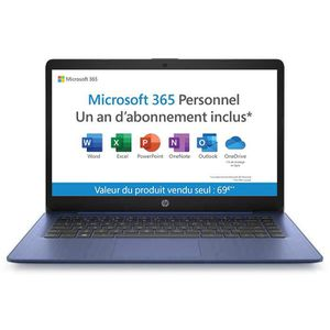 "Vente PC Portable HP PC Portable Stream 14-ds0012nf - 14"" HD - AMD A4 - RAM 4Go - Stockage 64Go - AZERTY - WiFi - Windows 10S - Office 365 inclus 1 an pas cher"