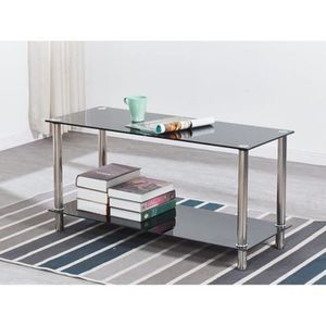 TABLE BASSE PIA Table basse verre trempé - Noir -  L 100 x P 4