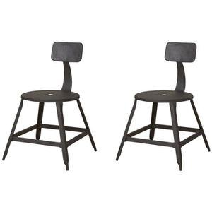 CHAISE LOFT Lot de 2 chaises de salle à manger métal noir