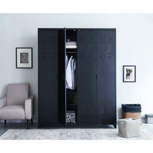 ARMOIRE DE CHAMBRE LIVERPOOL Armoire en métal noir - L 170 x P 52,4 x